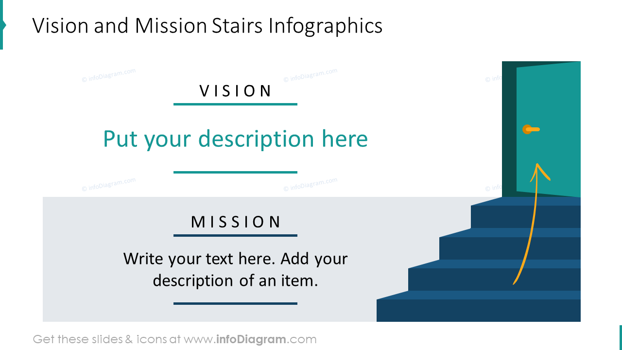 Vision and mission stairs infographics