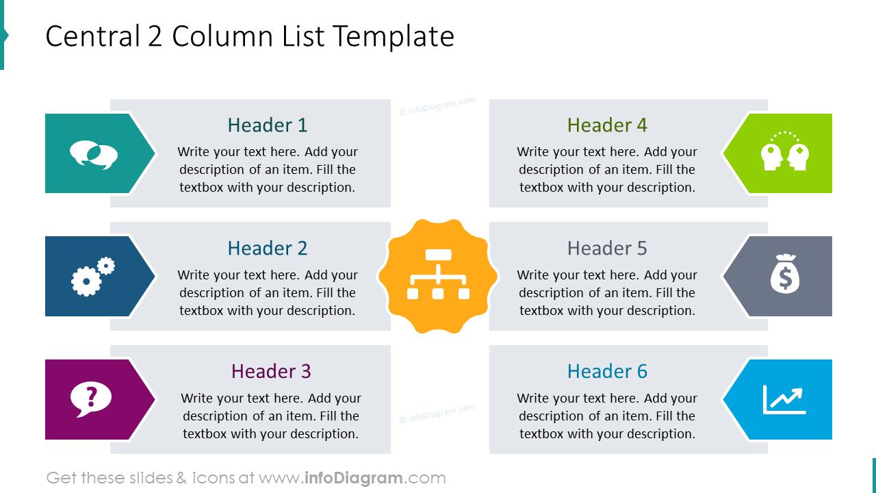 Central 2 column list infographics