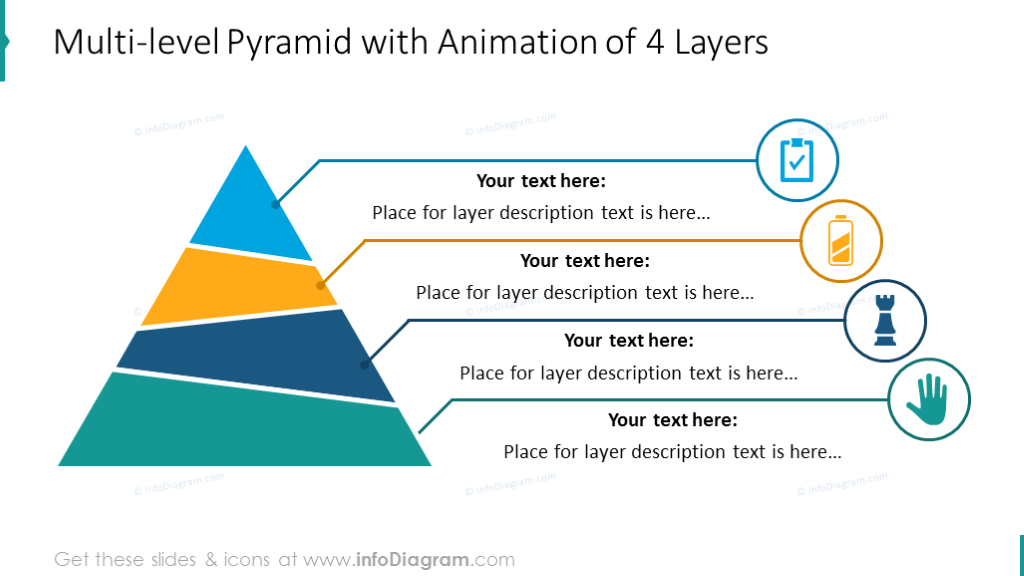 Four levels multicolor pyramid with short description and icons