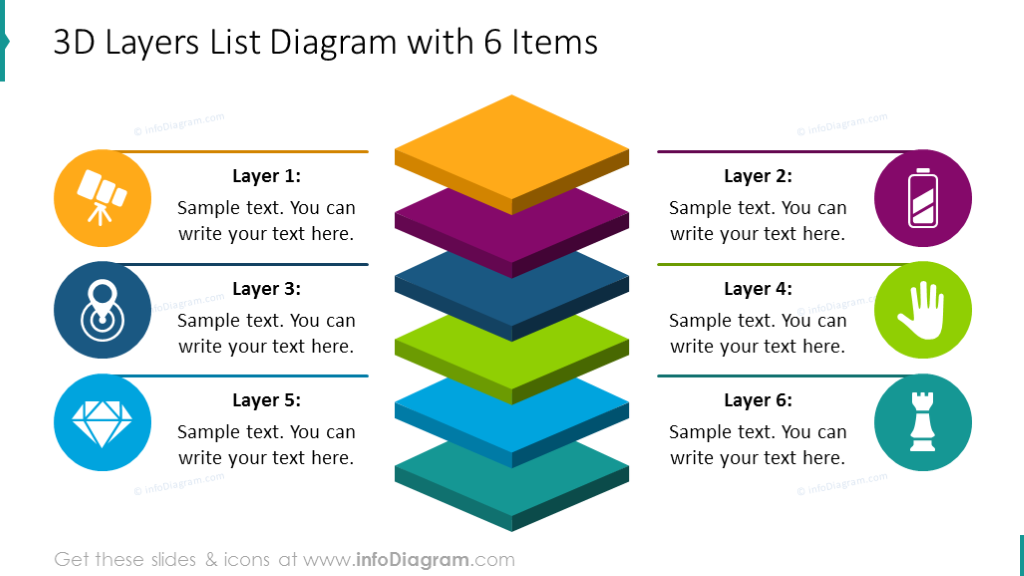 Six items 3D layers diagram with flat icons