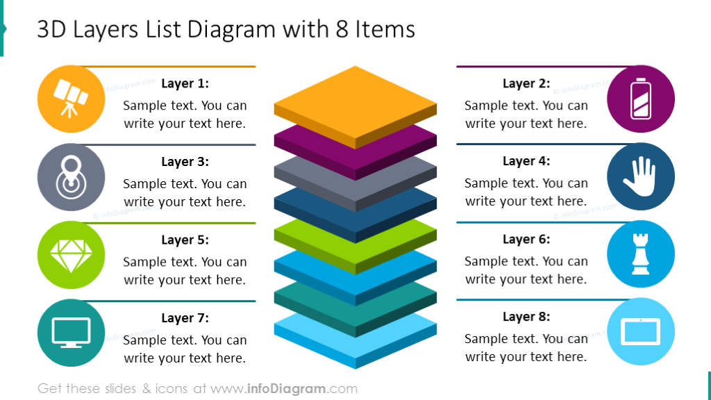 Eight items 3D diagram with description and modern flat icons