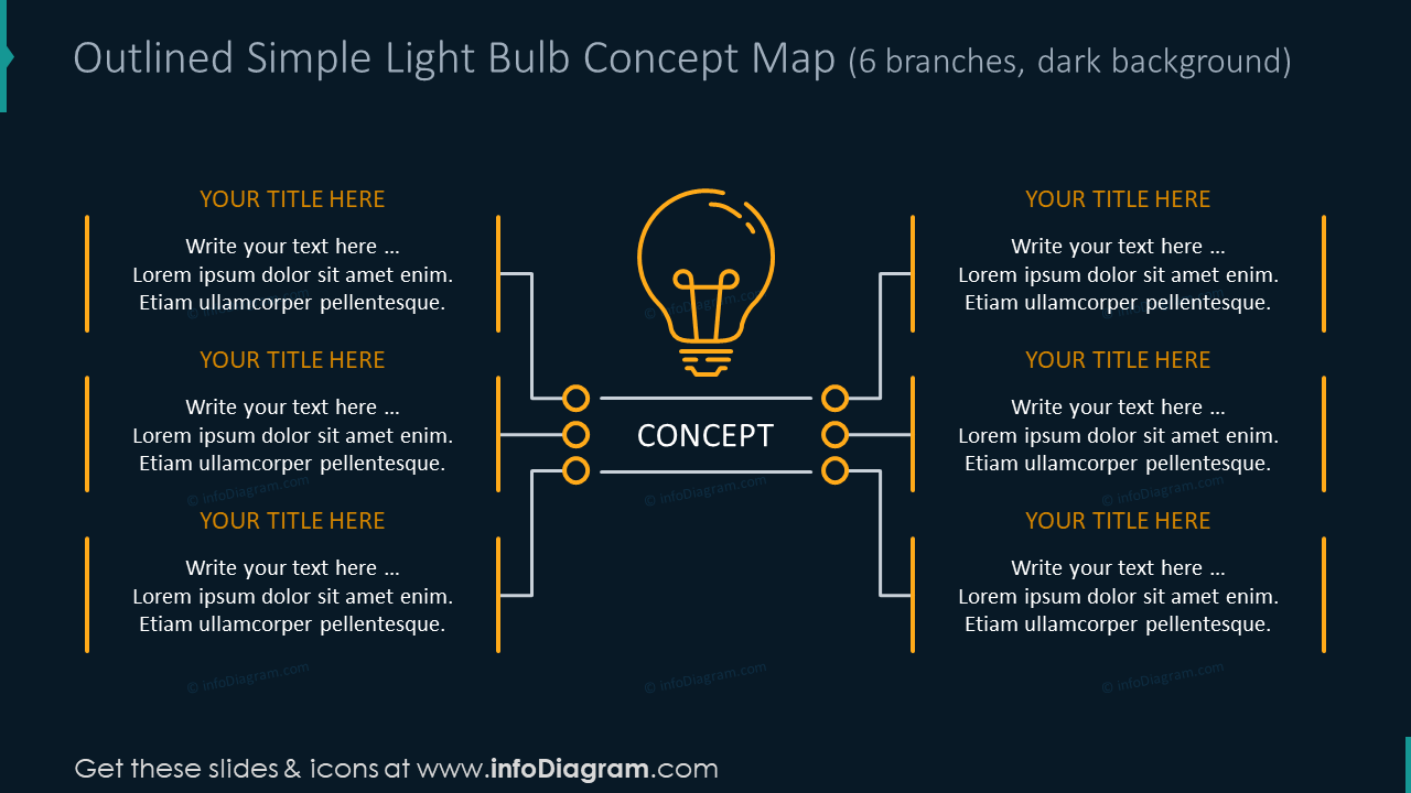 Outlined simple light bulb for 6 branches on the dark background