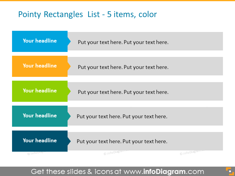 Pointy colorful rectangles list