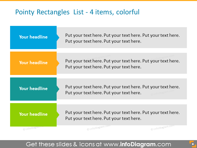 Example of the colorful rectangles list