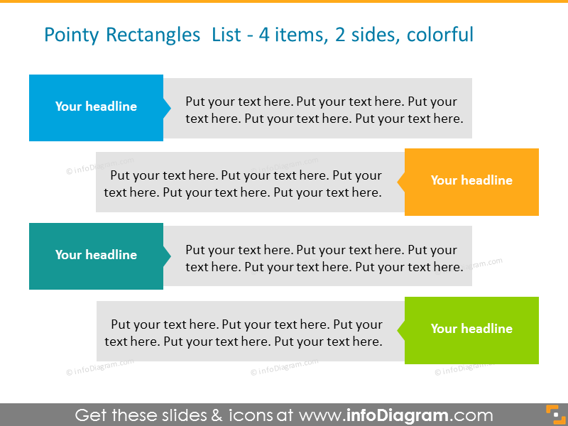 Template of the two sided list showed with color and bullet points