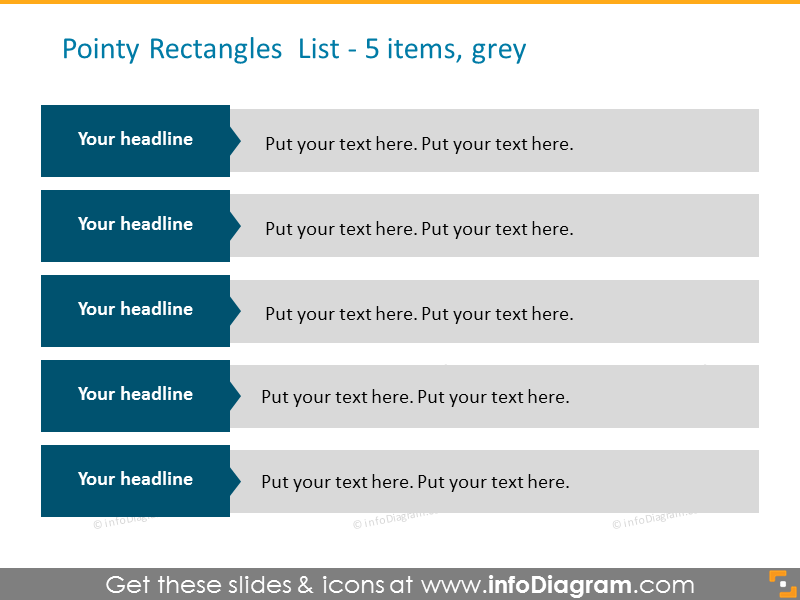 Pointy rectangles list in grey color