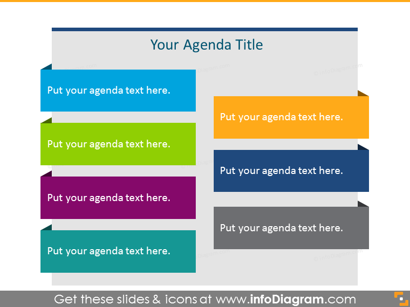 Flat Agenda List in color for 7 items