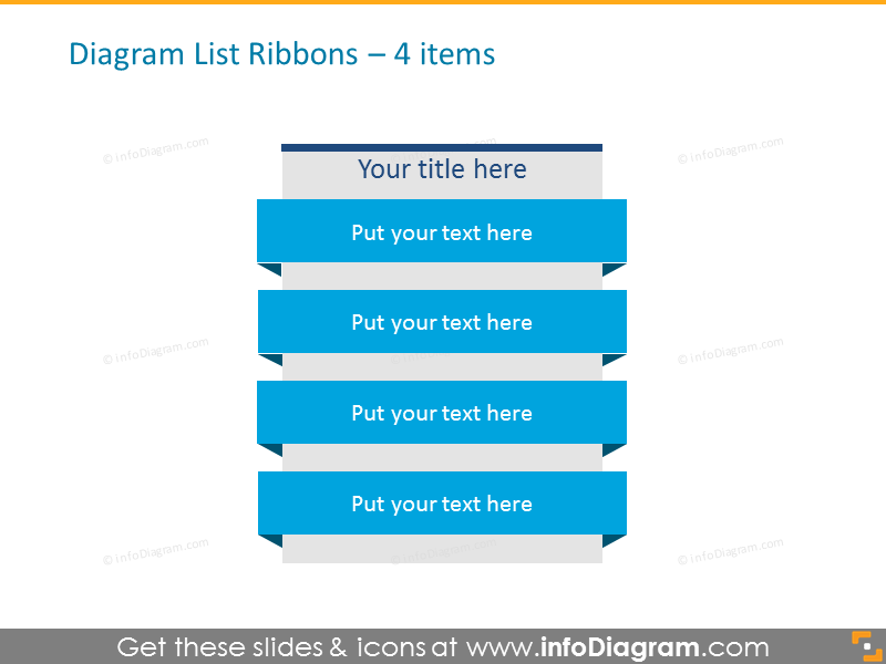 Diagram List Ribbons for placing 4 items