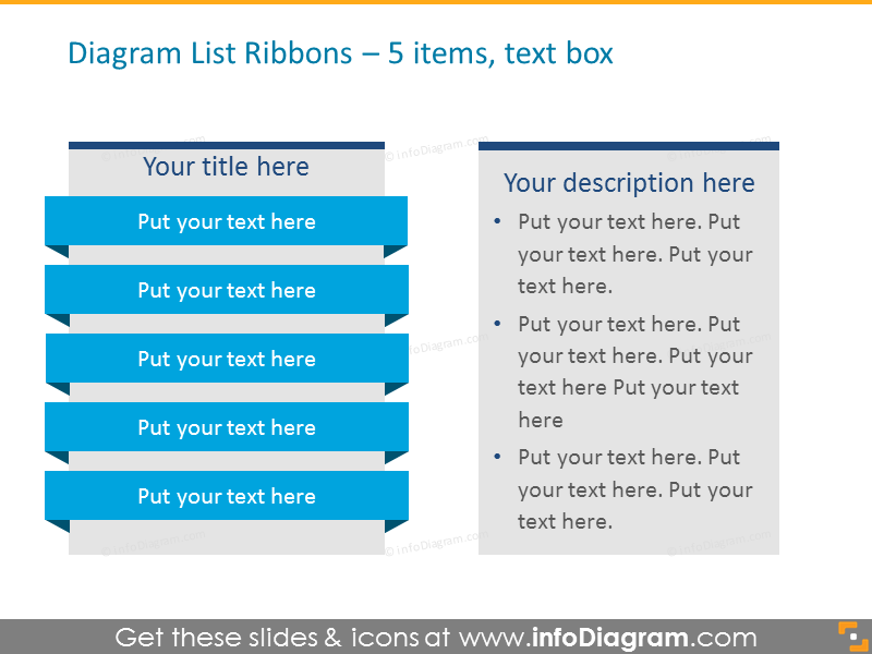 Diagram List Ribbons for placing 5 items with text box