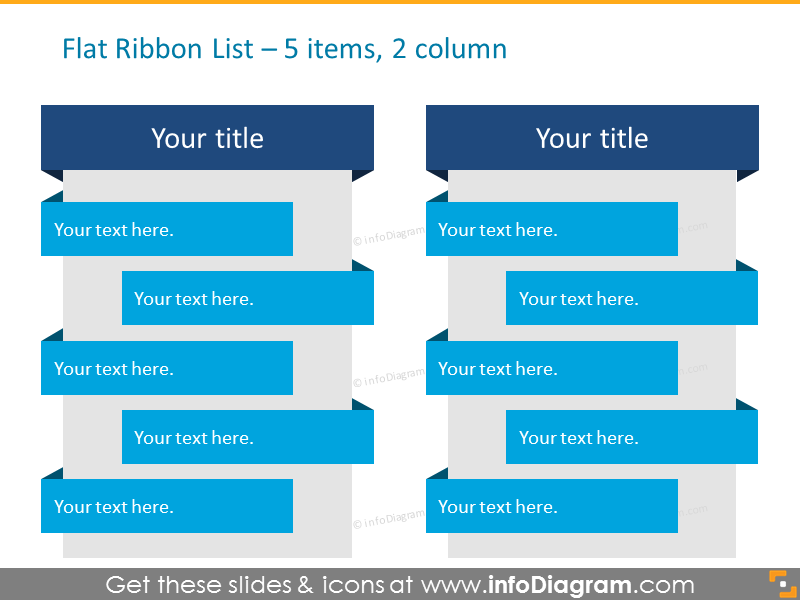Flat Ribbon List for placing 5 items in 2 columns
