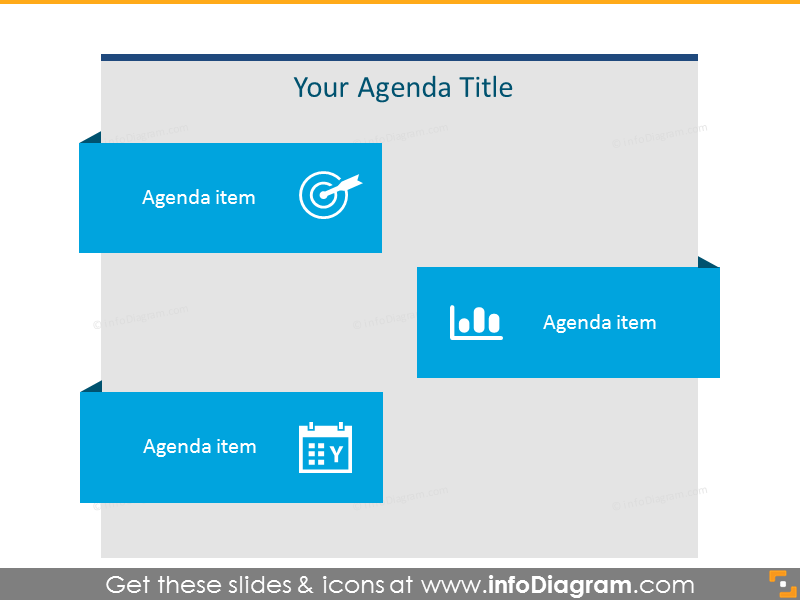 Flat Agenda List for 3 items with icons