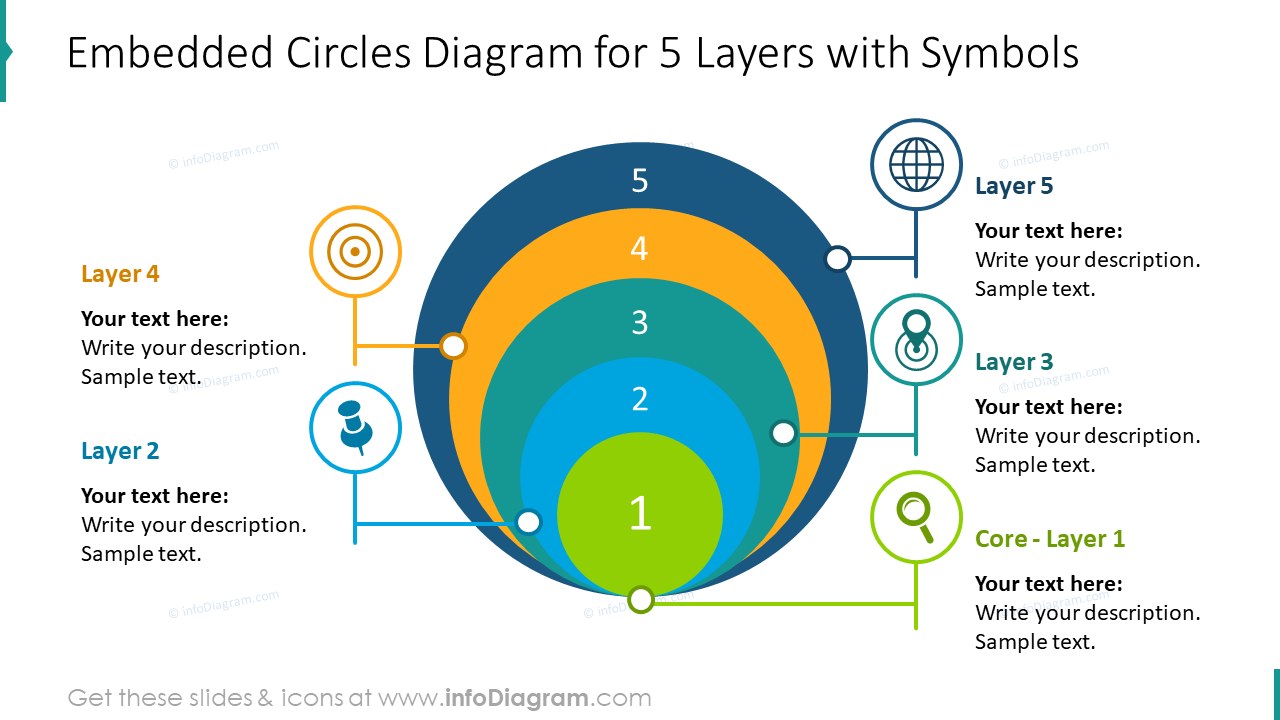 Embedded 5 circles slide with flat symbols