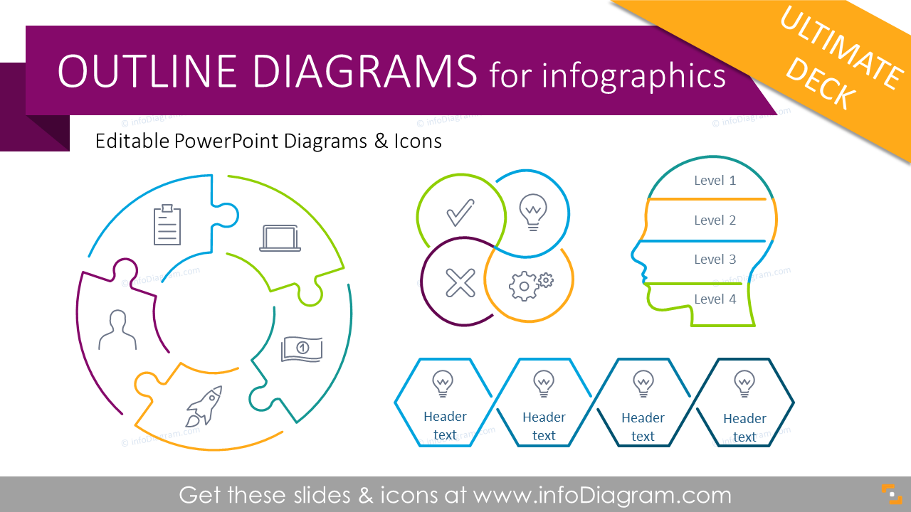 Outline Diagrams - Ultimate Deck for Visual Presentations (PPT graphics)