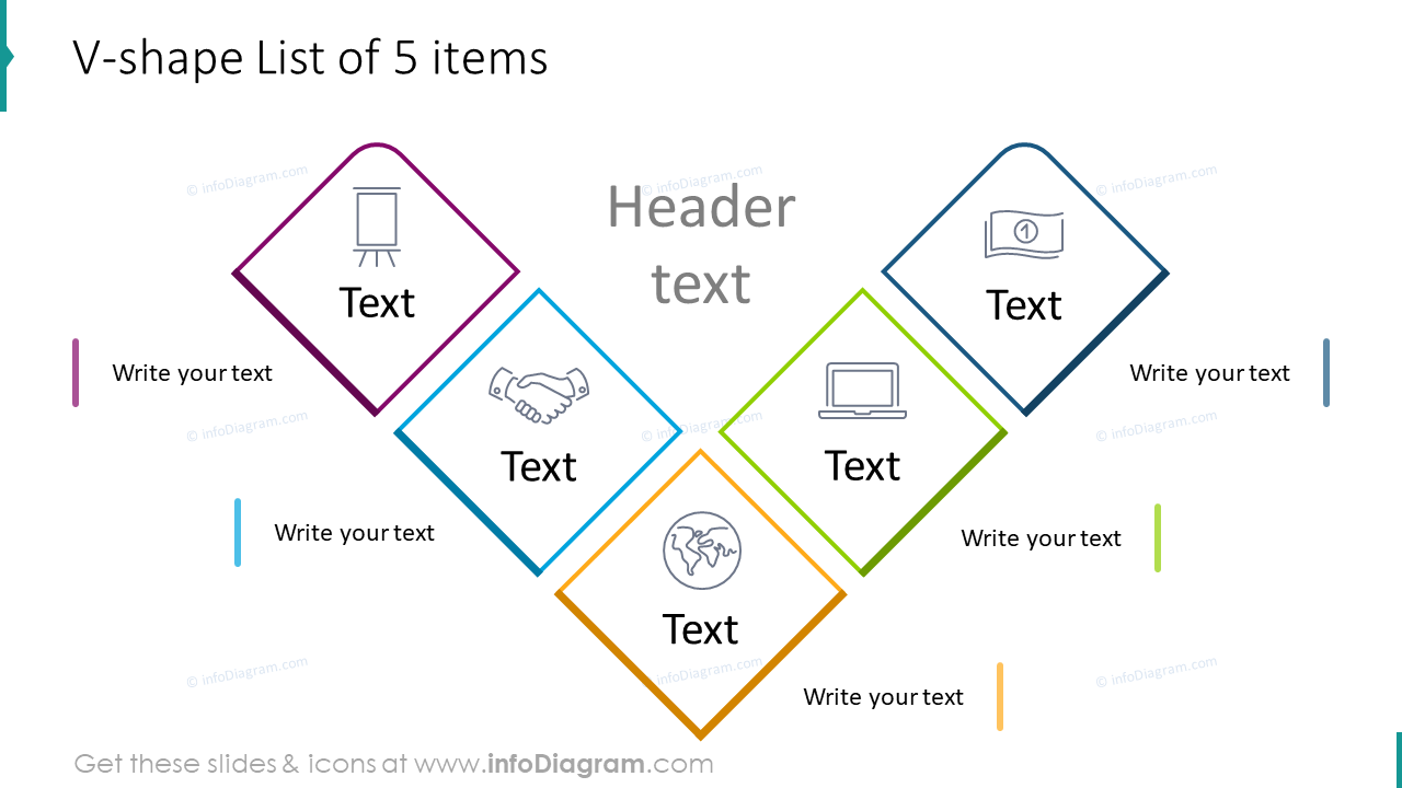 V-shape diagram list for five items