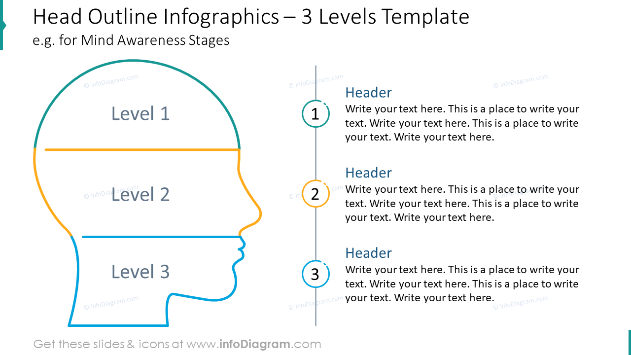 Head outline infographics for three levels template