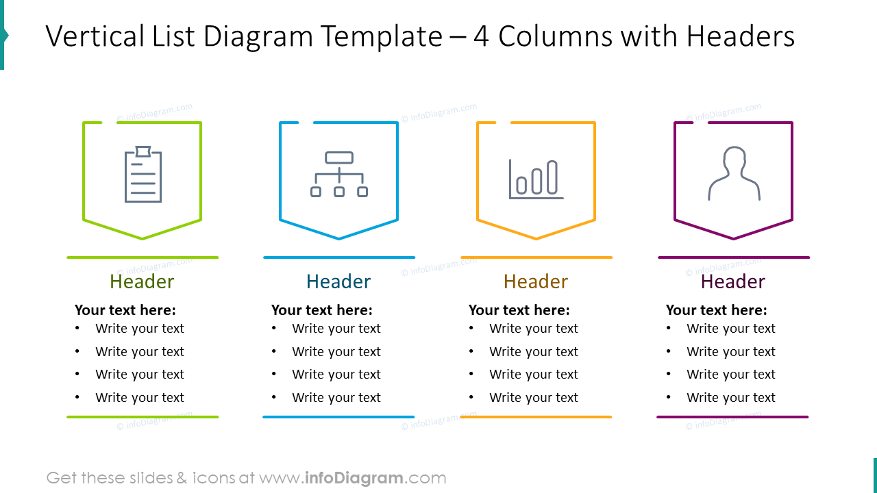 Vertical list diagram for four columns with headers
