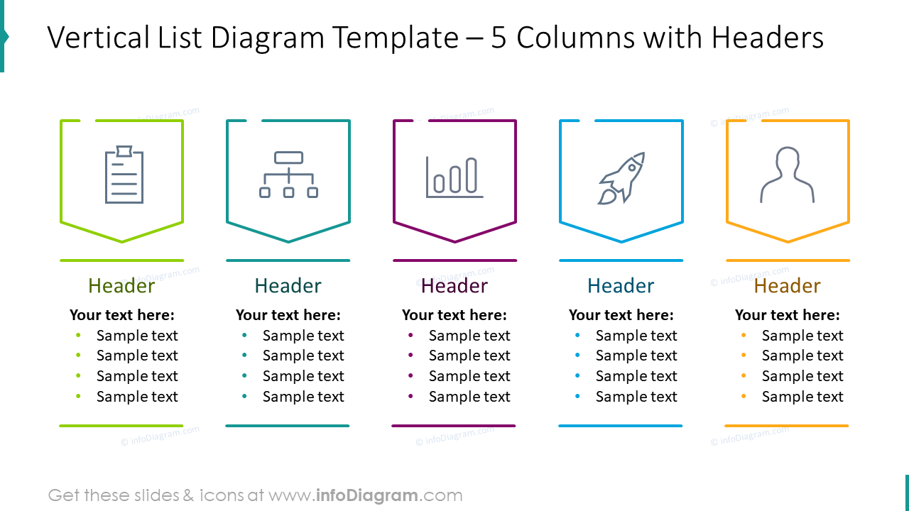 Vertical list diagram for five columns with headers