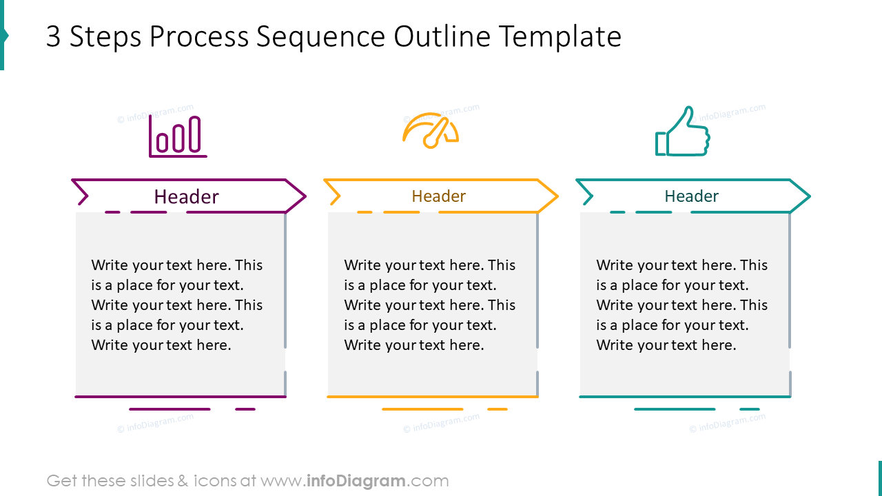 Three steps process sequence outline template