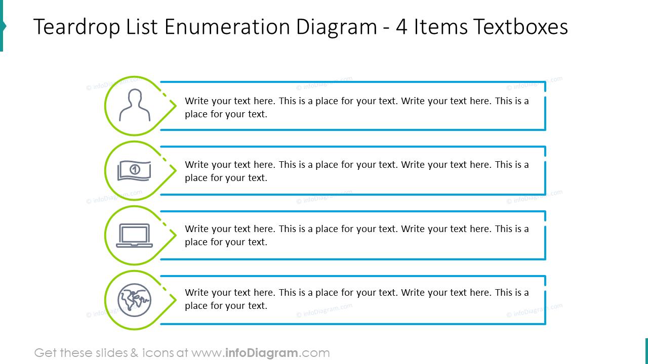 Teardrop list enumeration diagram for four items