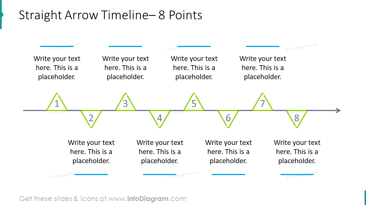Straight arrow timeline for eight points