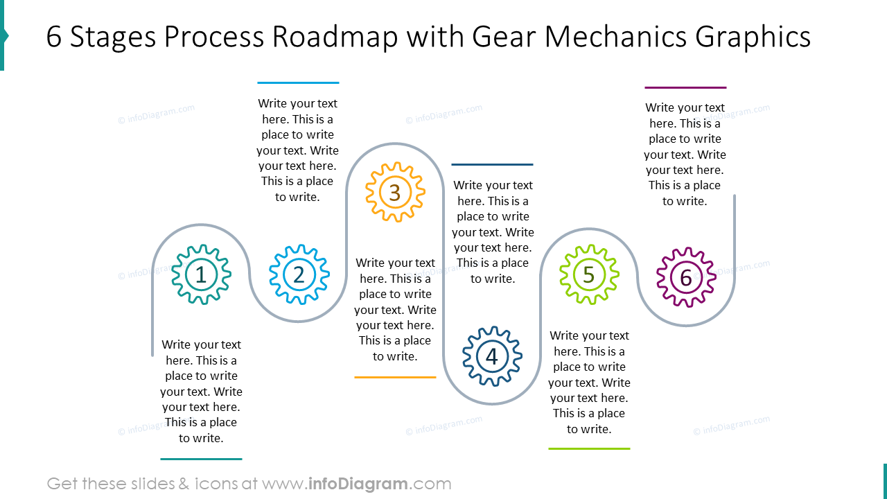 Six stages process roadmap with gear mechanics graphics