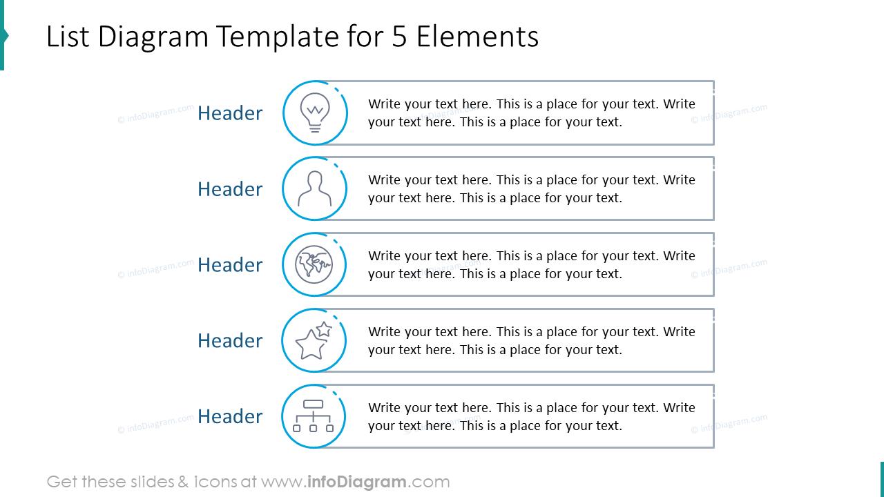 List diagram template for five elements