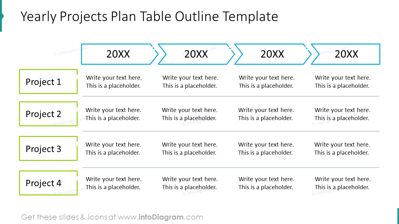 Yearly projects plan table outline template