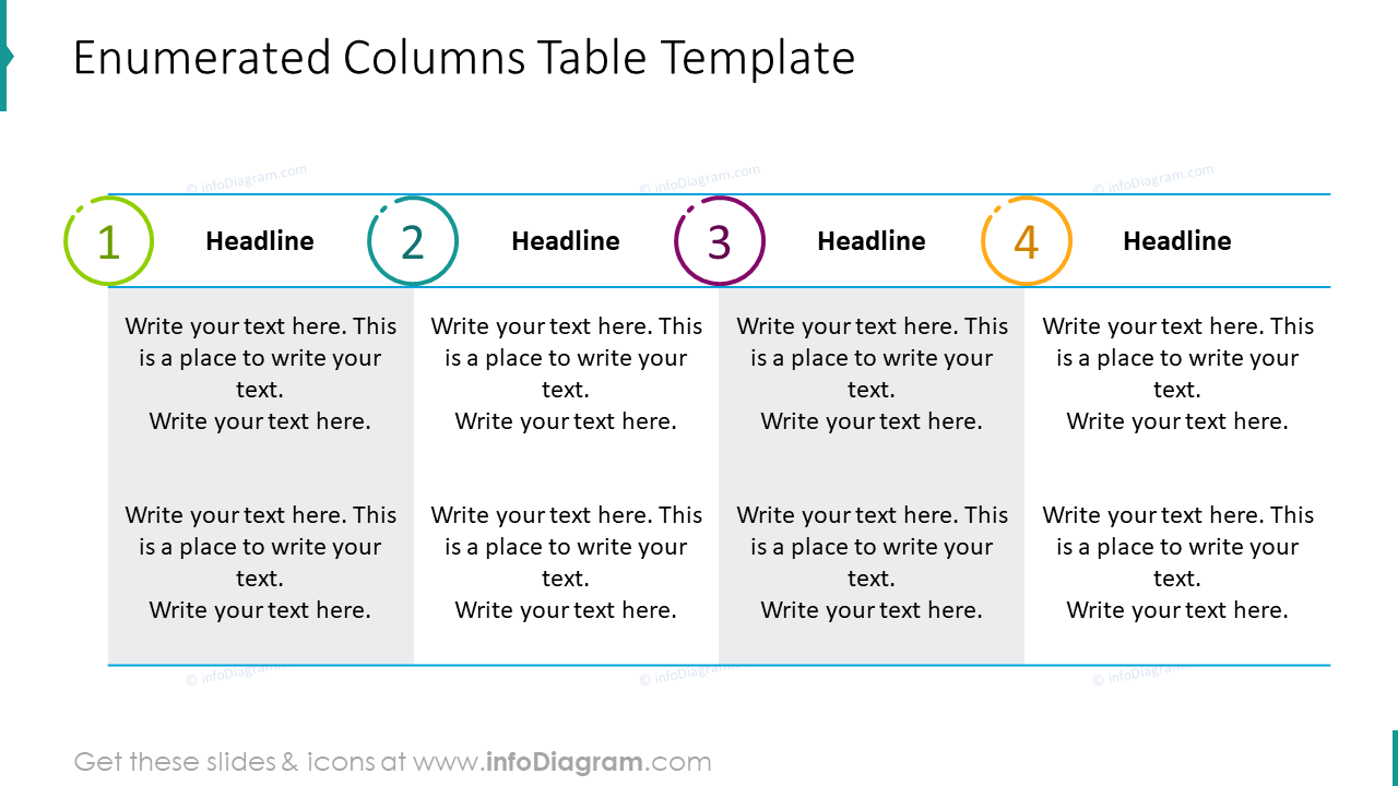 Enumerated columns table template