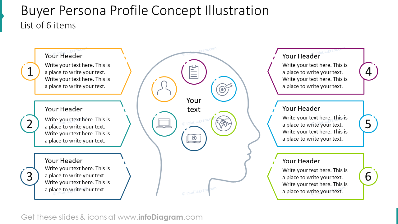 Buyer persona profile concept illustrationlist of six items