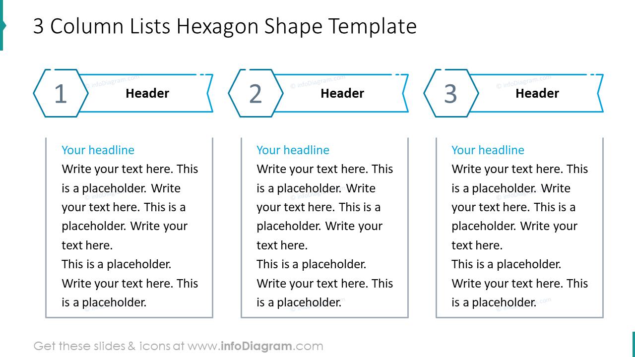 Three column lists hexagon shape example