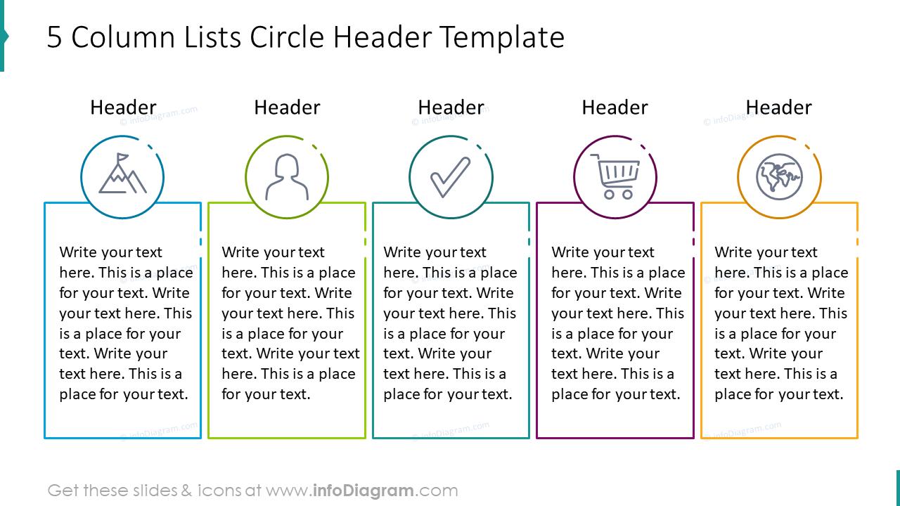 Five column lists hexagon shape example