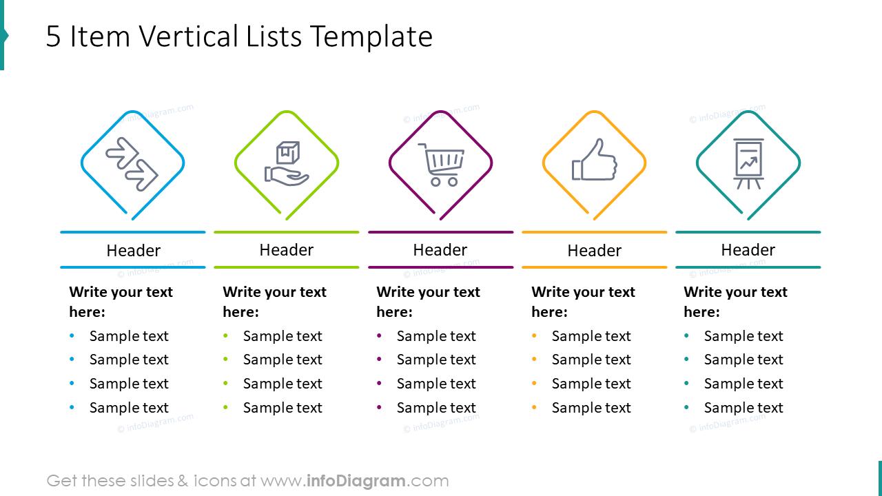Five item vertical lists template