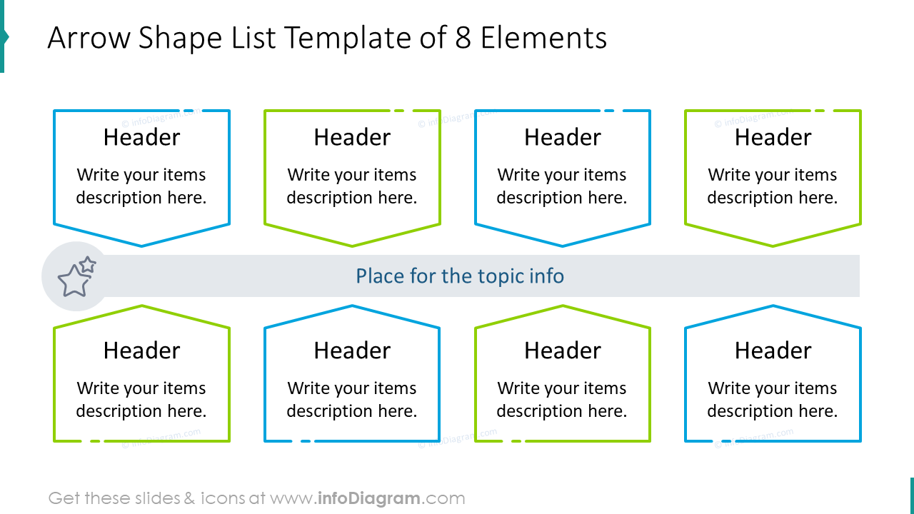 Arrow shape list template of eight items
