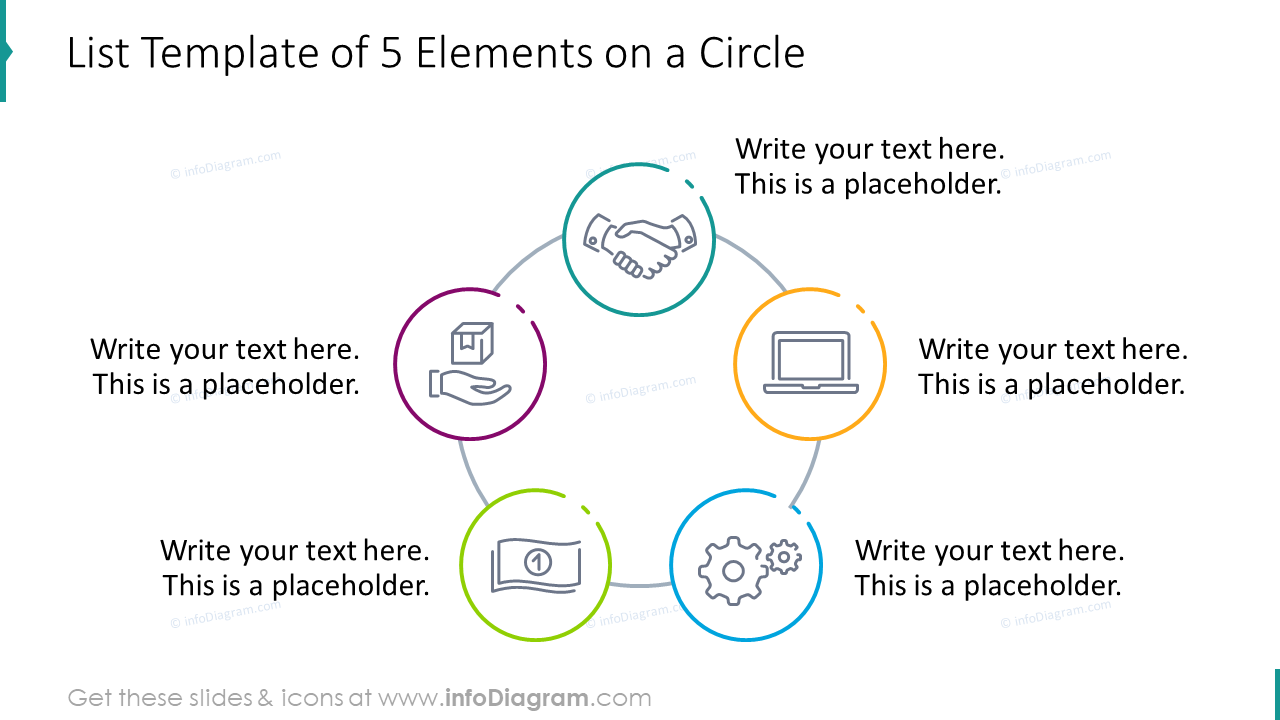List template of five elements on a circle
