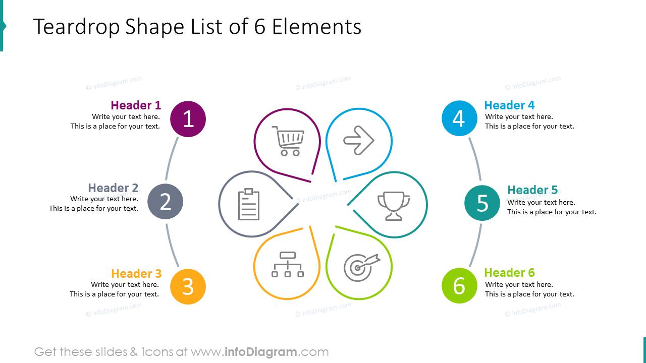 Teardrop shape list of six elements
