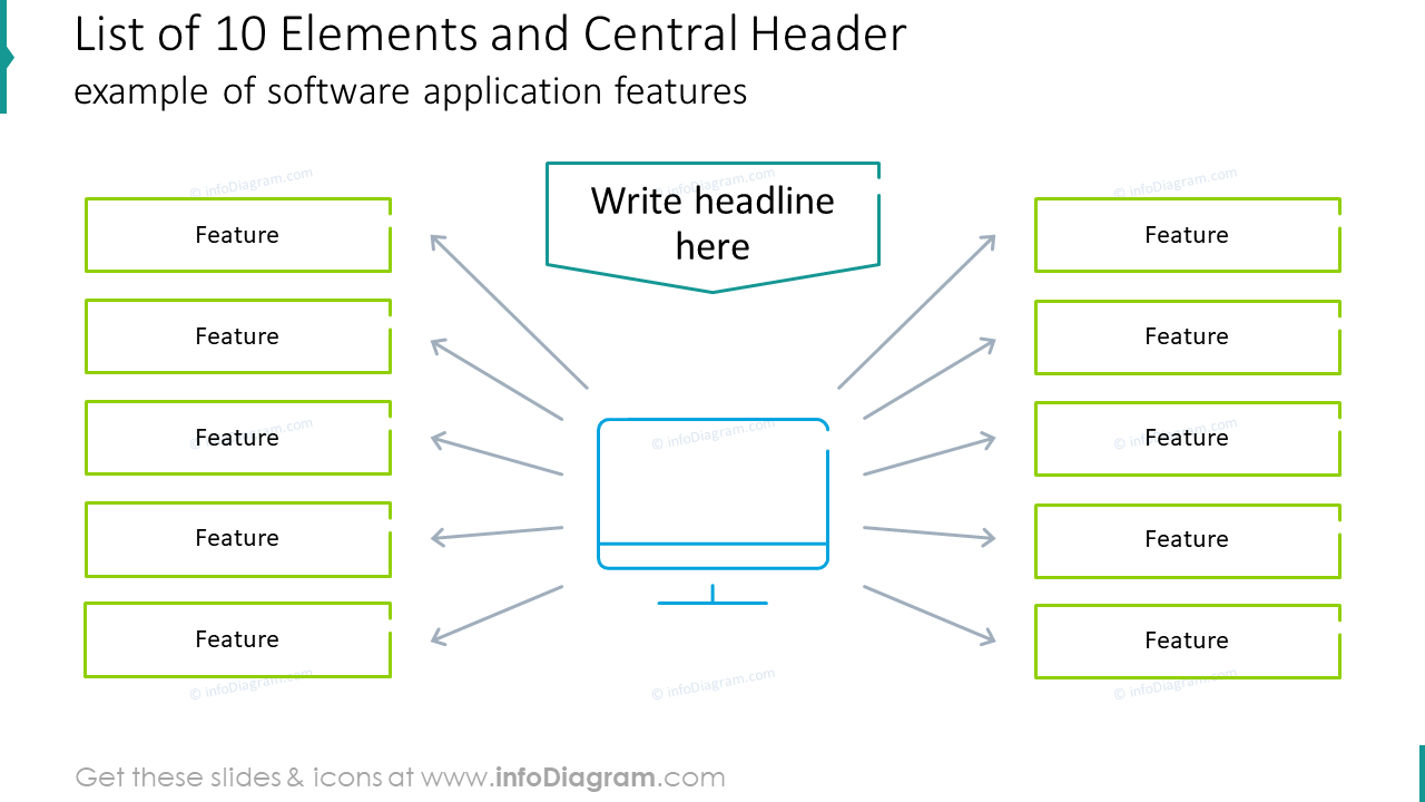 List of ten elements and central header