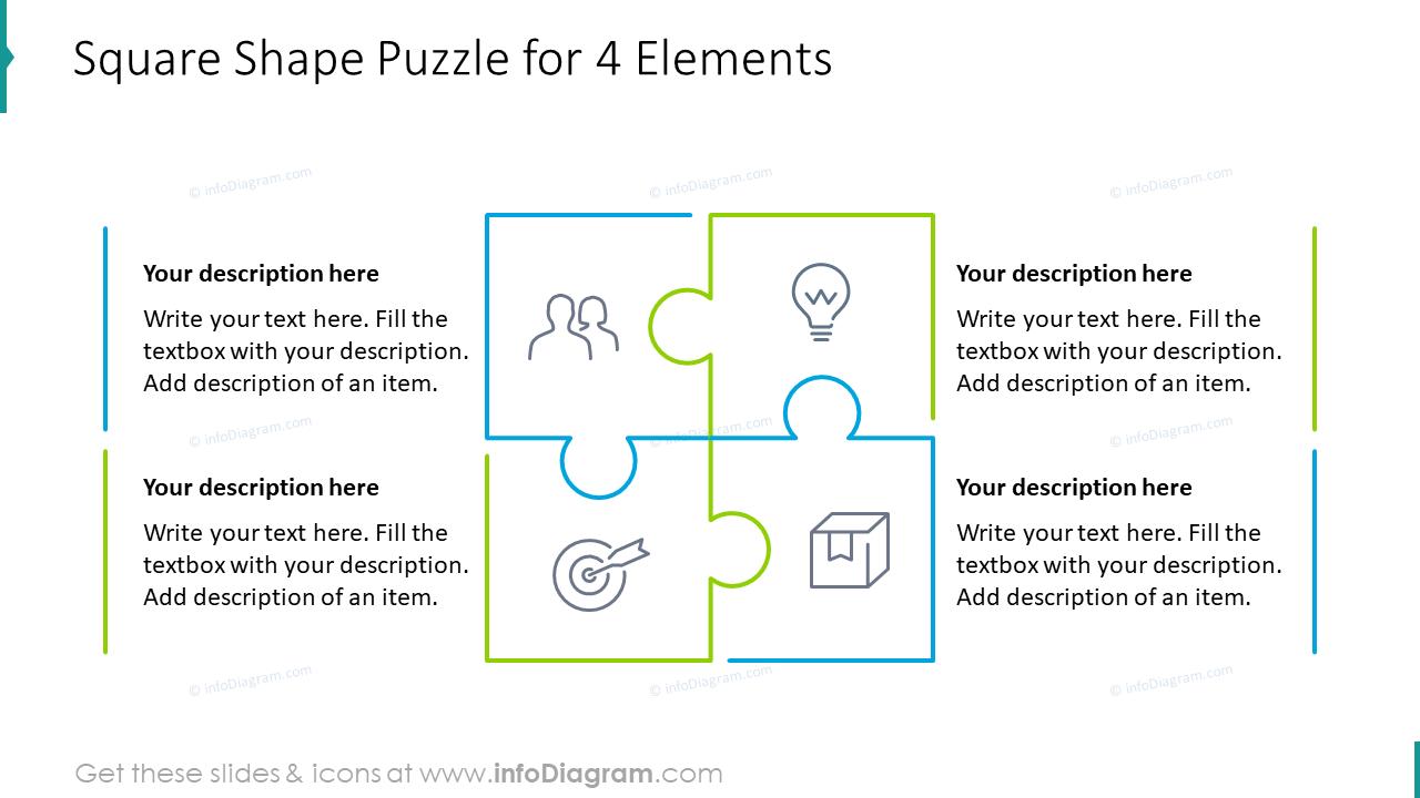 Square shape puzzle for four elements