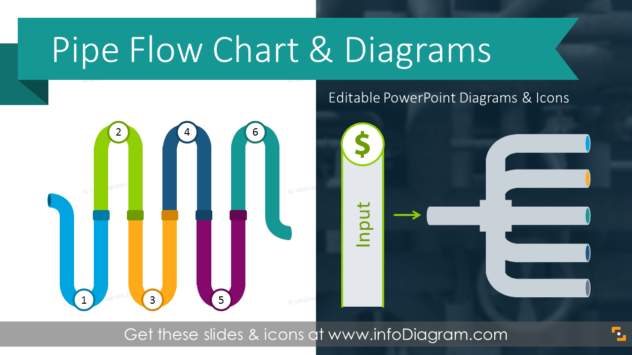 Modern Pipe Line    Diagram    Flow    Chart    PPT Infographics