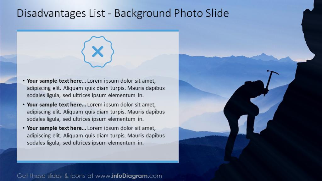 Disadvantages list with a background photo and text description