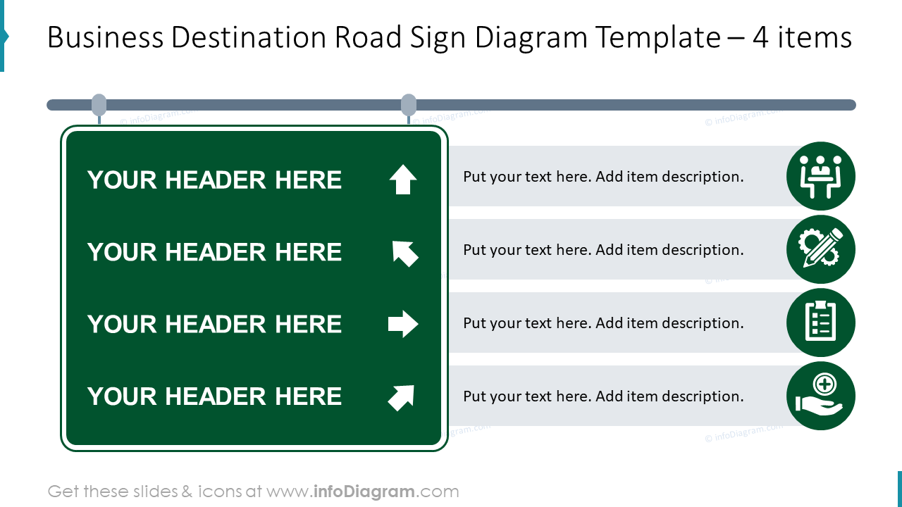 Business destination road sign diagram