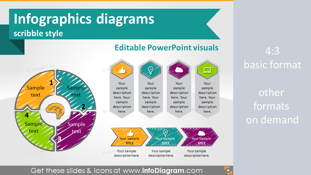 Hand Drawn Scribbled Infographics diagrams and symbols (PPT shapes)