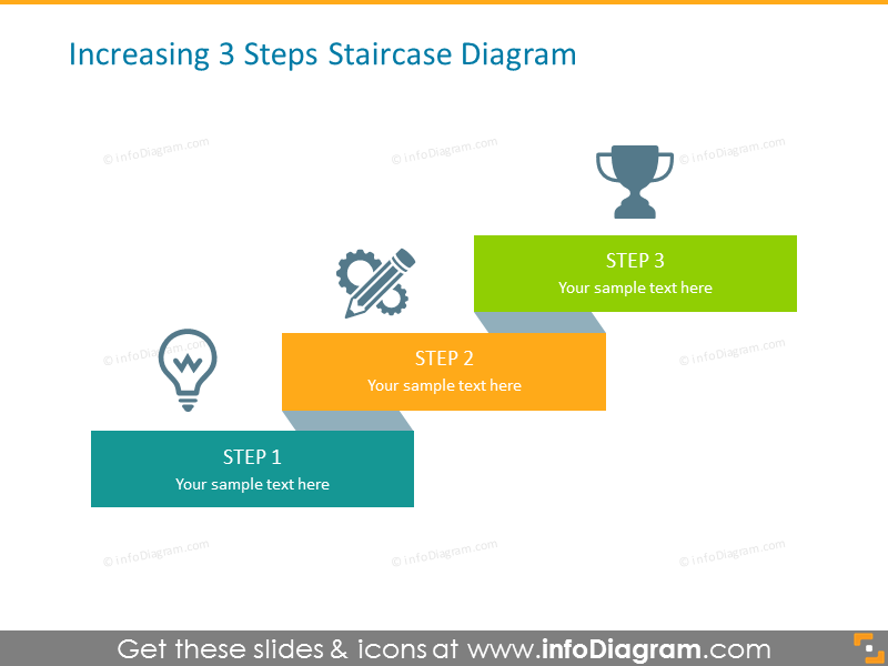 Increasing Steps Diagram Template for 3 Items with Icons