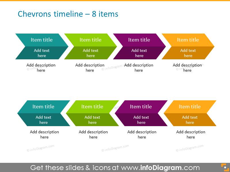 timeline infographics for 8 elements in chevron shape