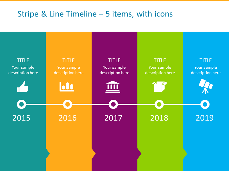 Stripe and Line Timeline template for 5 items with icons