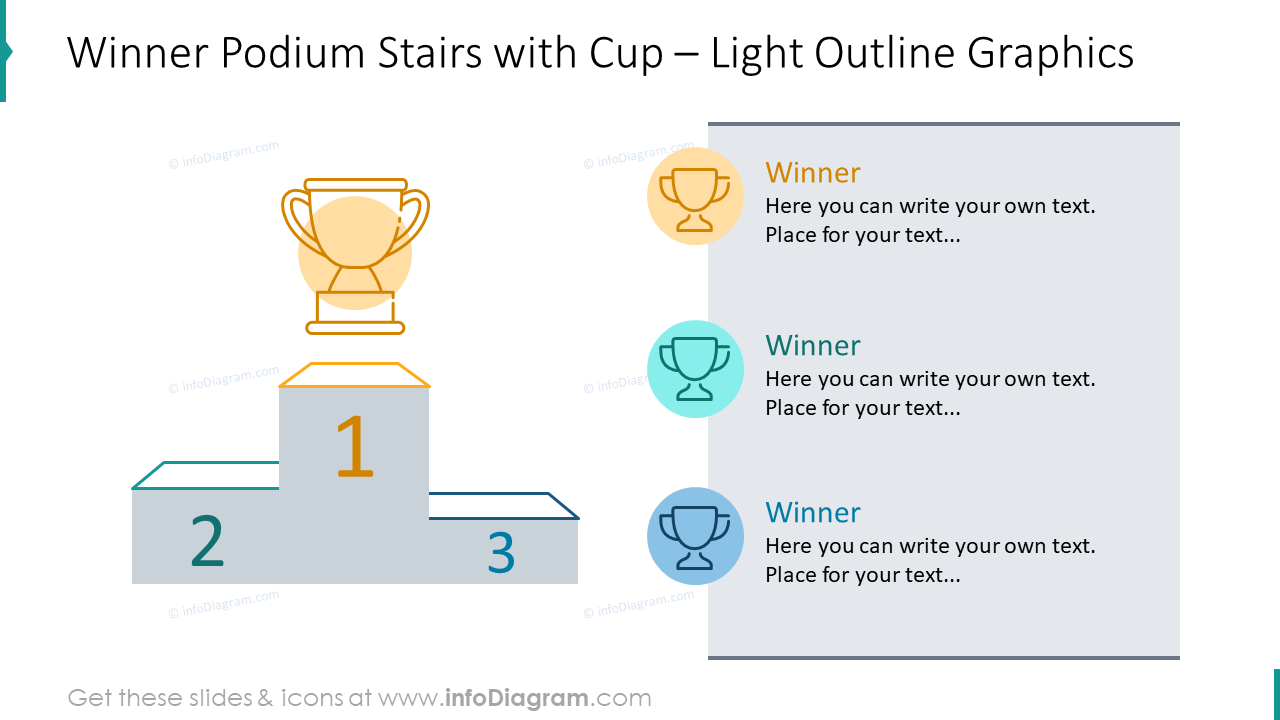 Winner podium stairs and cup illustrated with outline graphics