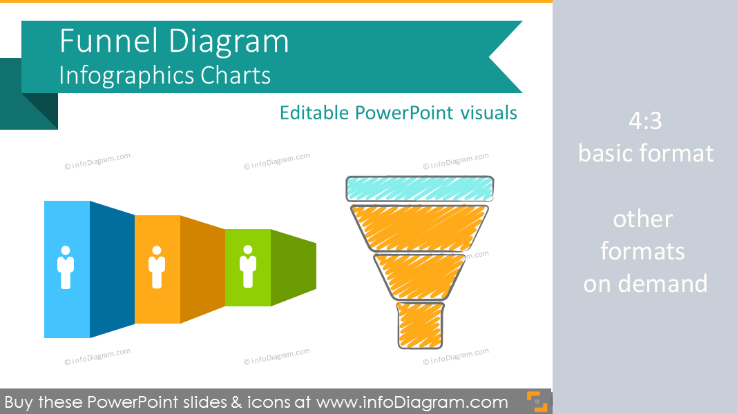 Infographics Funnel Diagram Pipeline Charts (PPT shapes)