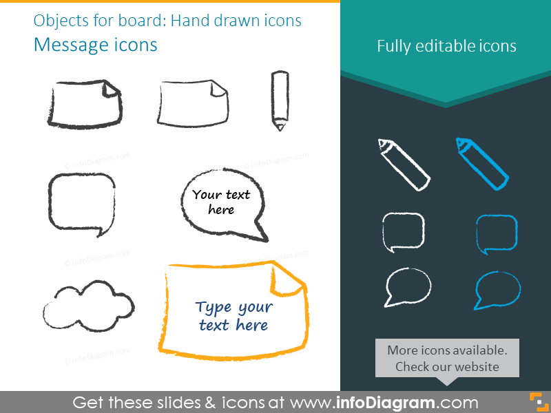 Hand drawn message icons set