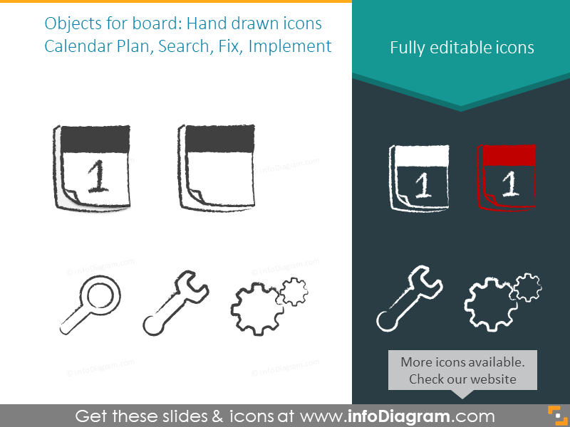 Hand drawn icons set: Calendar Plan, Search, Fix, Implement