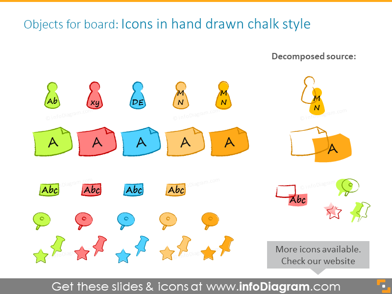 Objects for the board in hand-drawn chalk style