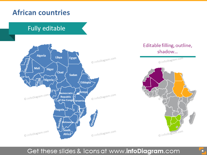 Africa countries powerpoint editable Congo map